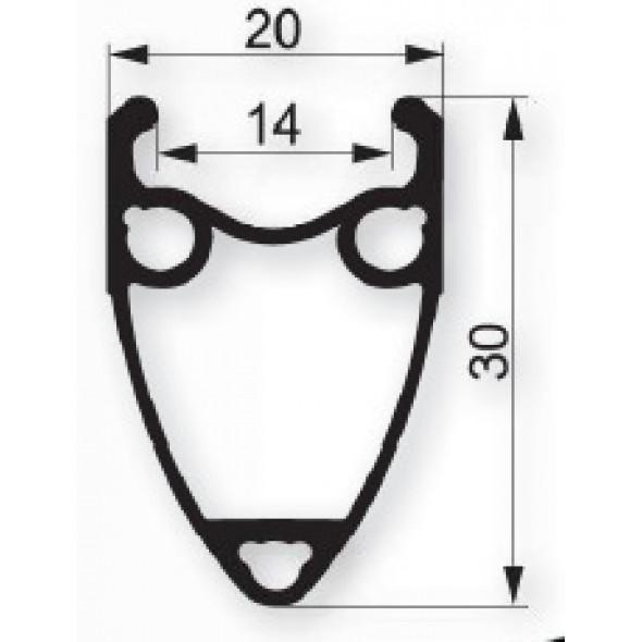 Ráfik Remerx Taurus 622x14, 36 dier., čierny